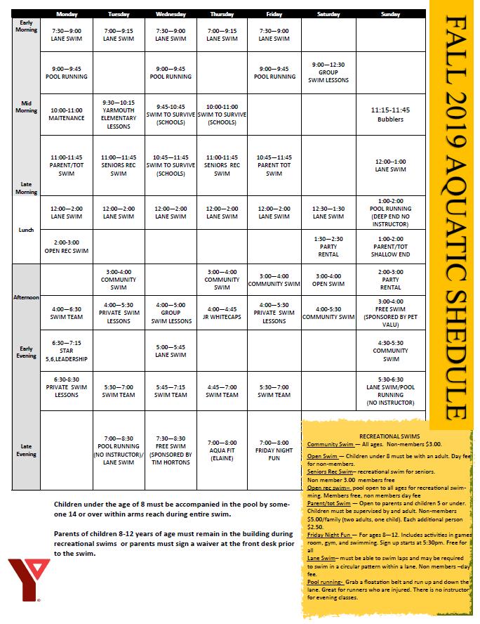 Fall Aquatics Schedule 2019 pic